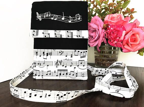 Music Notes Crossbody bag, Black Cross Body Bag, White Sling Bag, Music Shoulder Bag, Teenage Girl Gift, Gift for women, Black Crossover bag