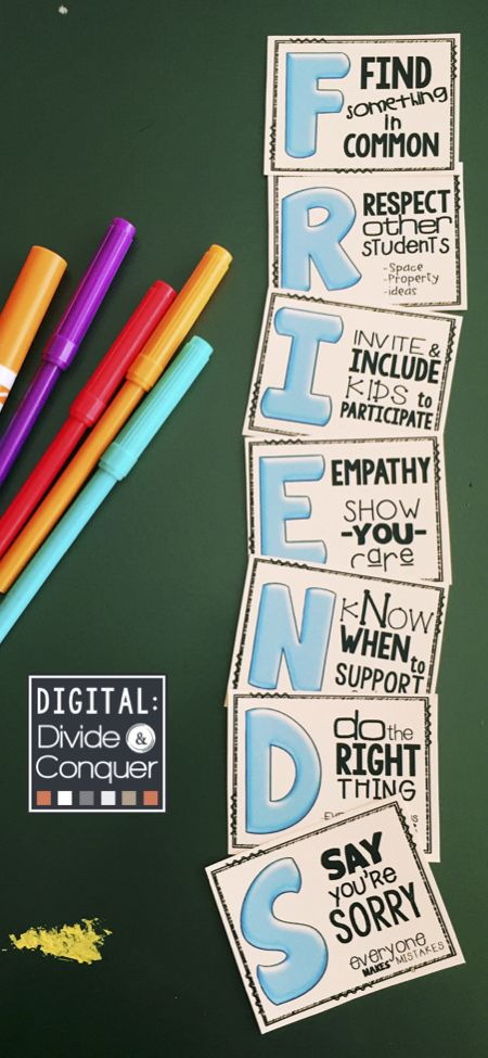 Learning how to be a FRIEND is critical for all kids (at all ages).  This  FREE resource is a great reminder to help students out.  Grab the full-size poster set (each letter is a standard 8x11 page).  Displays great in hallways or bulletin boards,  perfect for social/emotional learning too.