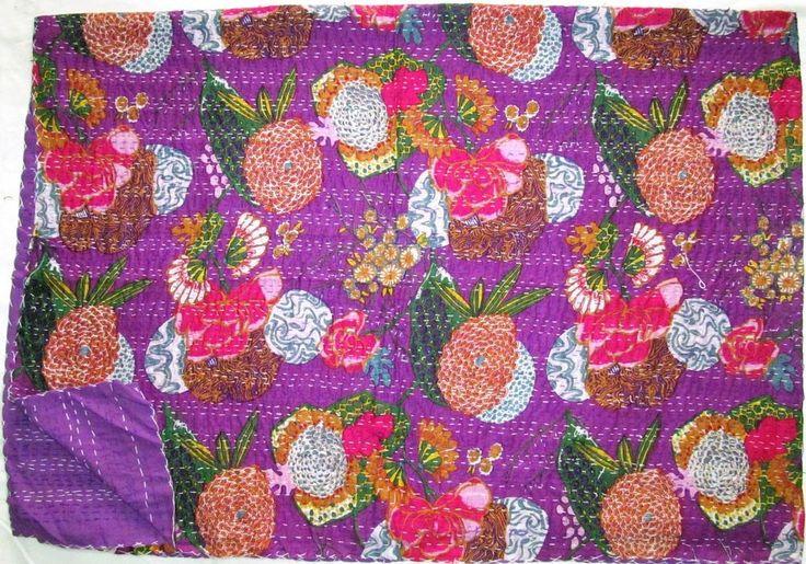 "Handmade Kantha Quilt Gudri Blue Bed Sheets Vintage New Ralli Decorative ""60x90 #LuckyHandicraft #Traditional"