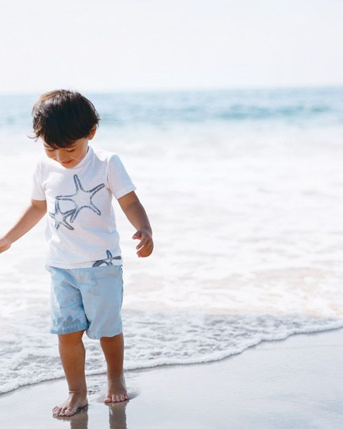 Kids' Seaside-Inspired Printed T-Shirts - These motifs (including starfish, more correctly known as sea stars) are charming on kids' beachwear, and the process is easy enough for small helpers.