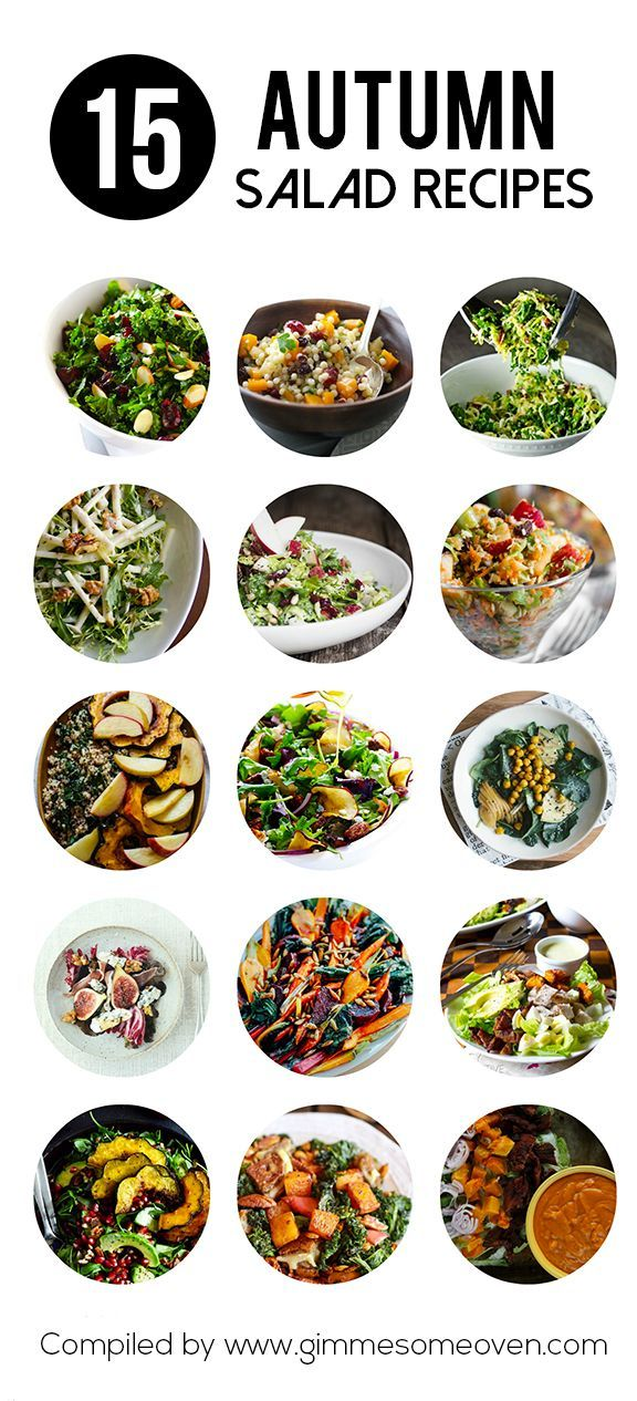 15 Amazing Autumn Salad Recipes via Gimme Some Oven- always looking for Yum salad ideas!