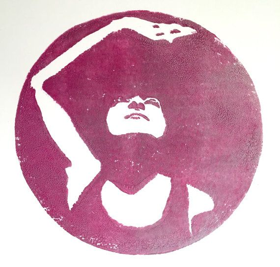 Woman looking into the sun- linocut print on Etsy