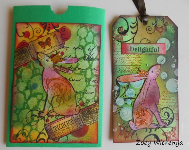 Bunny tag. Stamps, distressink, gesso.