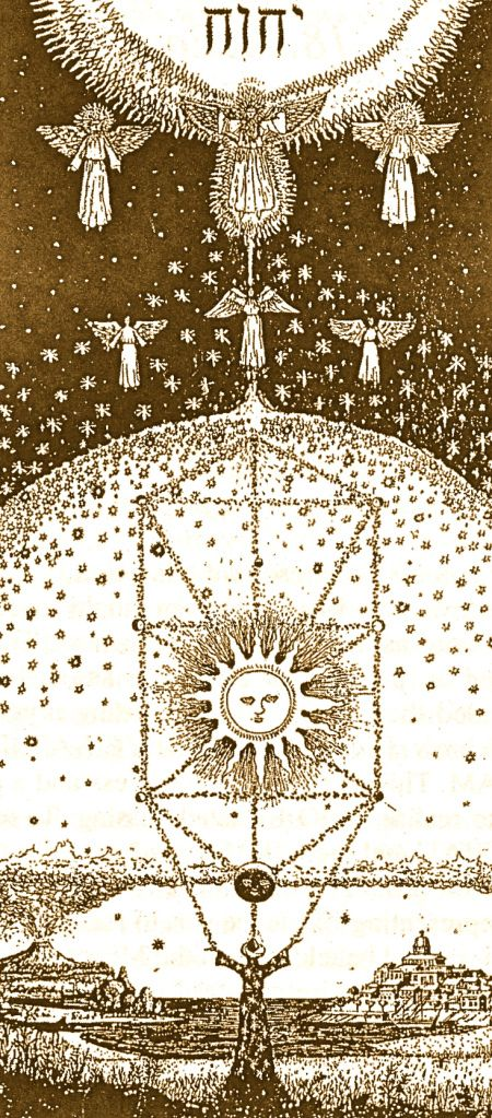 """Work of a Kabbalist - by Halevi. """"This wall hanging shows the Kabbalist below on earth, with the mineral, vegetable and animal kingdoms, and the works of man. Above is the moon, sun and solar system/Tree of Life within the dome of the stars. Over this hovers the Angelic world with Great Michael presiding... beyond this are the Archangels with Metatron the transfigured Enoch at the juncture point between the World of the Spirit and the Divine Realm represented by the Holy Name YHVH."""