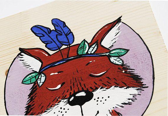 Fox nursery decor custom boy name sign Woodland nursery art