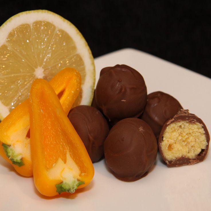 Hot Lemon Chilli Truffles are an unusual truffle, made with naga chilli oil and Italian Limoncello.