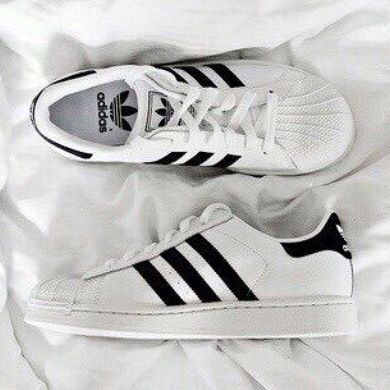 Black and White - classic white Adidas Superstars with black detailing -  Shoes