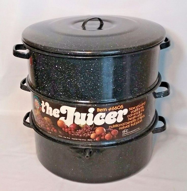 Vtg 3 pot steamer the juicer 6605 graniteware speckled for Art and cuisine cookware