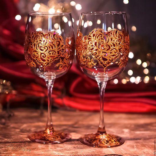 Бокалы, стаканы ручной работы. Ярмарка Мастеров - ручная работа. Купить Винные бокалы - Сердце. Handmade. Бордовый, подарок на свадьбу