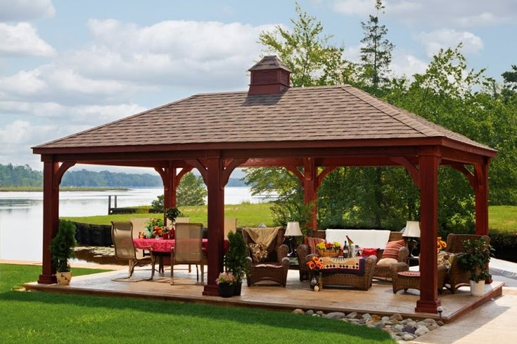 Wood Traditional Pavilion with large posts and cupola http://www.backyardunlimited.com/pavilions