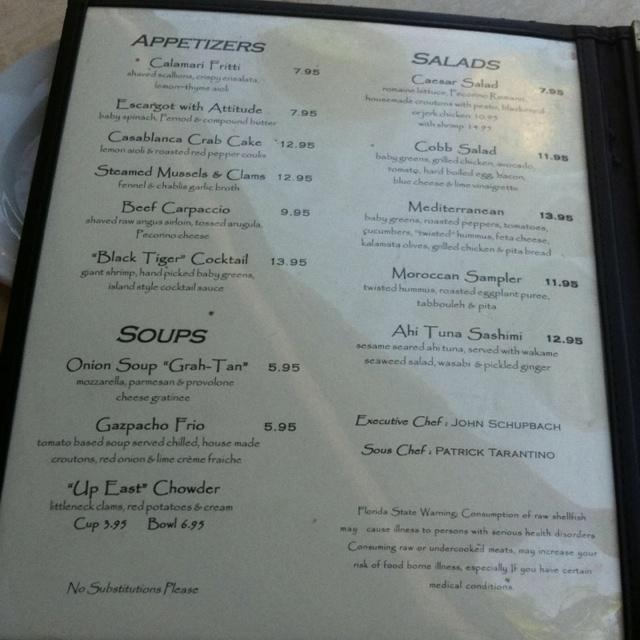 Cafe Casablanca Menu
