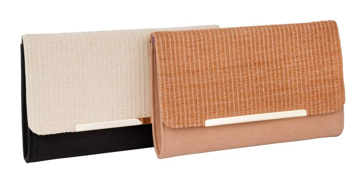 MATERIAL BLOCKING TWO TONE CLUTCH BAG