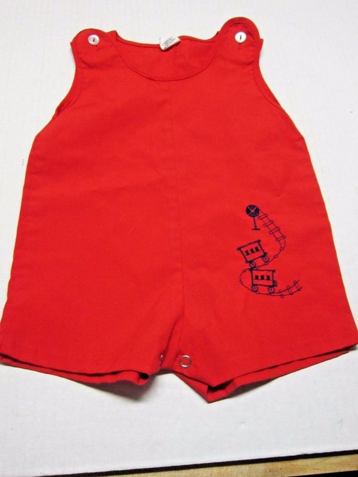 Vintage Sears Baby Toddler Embroidered Train Romper Jon Jon Overalls Outfit Sz M #Sears #Casual