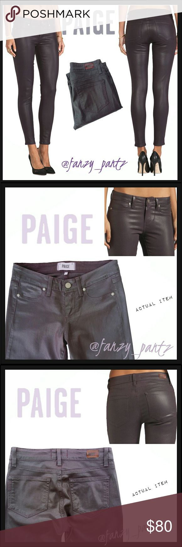 Paige Verdugo Skinny Coated jeans NWOT  Paige Verdugo ankle jeans in 'Coated Black Cherry Silk'.  Dark metallic purple skinny ankle crops with stretch. 8 inch rise, 13 inch waist when laid flat, 28 inch inseam.  Stock photo is exact style and color. Photos 2-5 are of actual item and taken by me.  351770 Paige Jeans Jeans Skinny