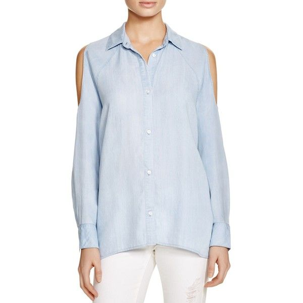 Rails Lana Denim Cold-Shoulder Shirt - 100% Bloomingdale's Exclusive ($160) ❤ liked on Polyvore featuring tops, light vintage wash, cold shoulder denim top, open shoulder shirt, cold shoulder denim shirt, blue shirt and rails shirts