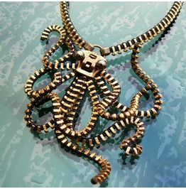 Steampunk Octopus Zipper Necklace