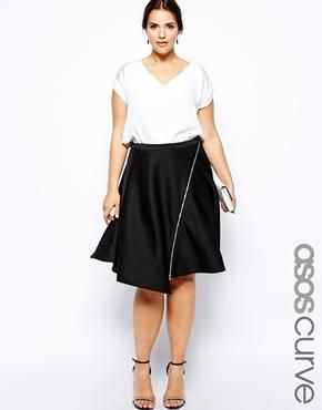 Image 1 of ASOS CURVE Exclusive Circular Skirt With Zip Front