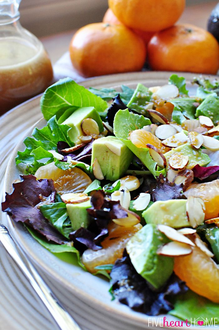 Mixed Greens Salad with Mandarins, Toasted Almonds, Avocado, and Sesame Ginger Vinaigrette