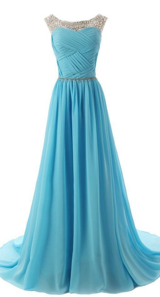 Bg415 BlueProm Dress,Chiffon Prom Dresses,A Line Prom Dress,Beautiful