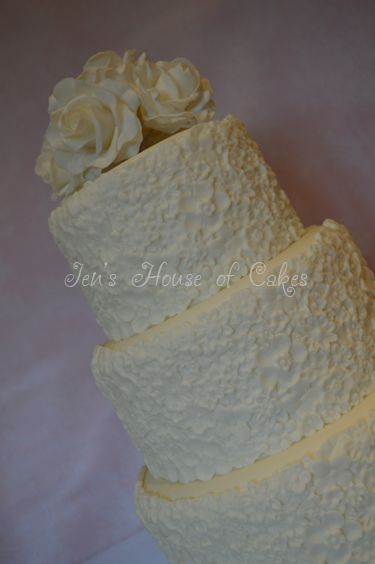 Textured Flowers Wedding Cake