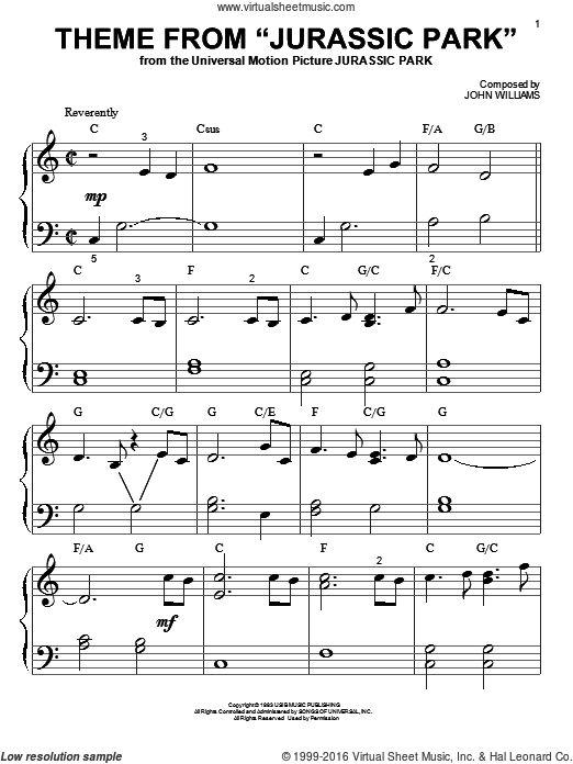 jurassic park theme piano sheet music easy pdf