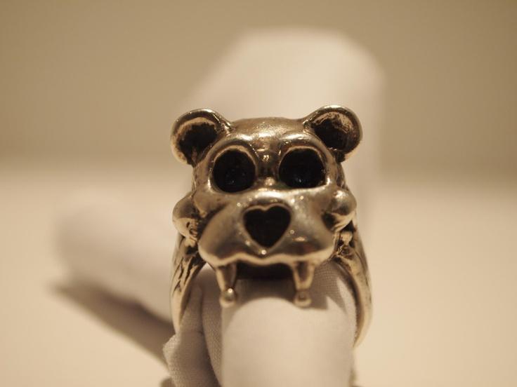 """""""Teddy"""" Teddy Bear Skull w/ Fangs, Silver and Black Rhodium"""
