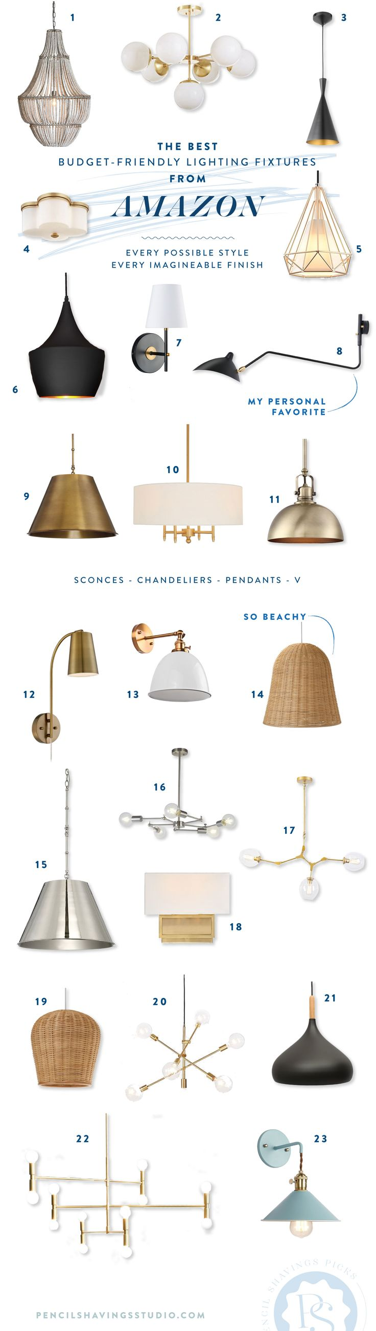 23 budget friendly lighting fixtures from Amazon, in a variety of styles and finishes. #amazonprime #amazon #lighting #budgetlighting #hardwiredlighting #chandeliers #pendants #wallmount #flushmount www.pencilshavingsstudio.com