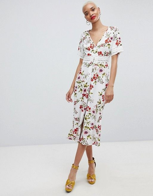 2019 Dress Floral In Broderie Insert Prettylittlething Midi nvmNP0wy8O