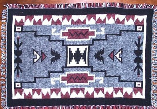 "Set of 2 woven  Placemats 13x19"" Jacquard Cotton Red Gray Black Southwestern Geometric #southwestern #placemats"