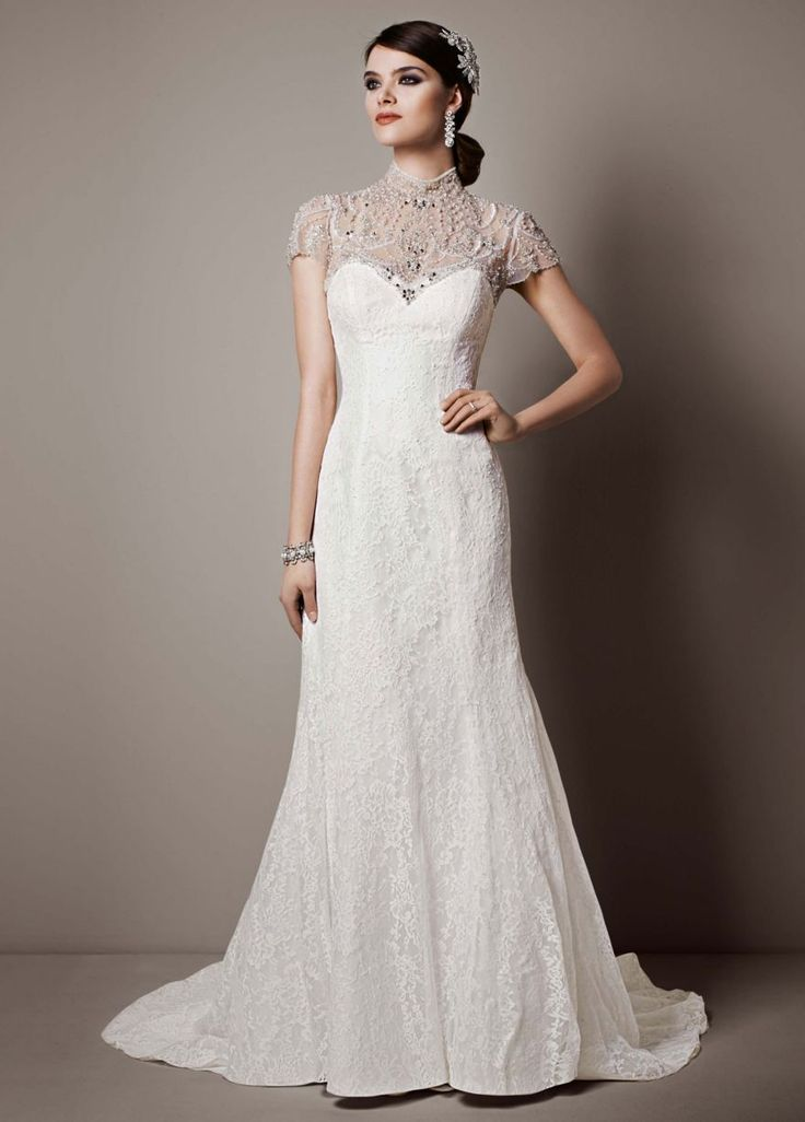 Lace sheath gown with capelet embellishment david 39 s for David bridal lace wedding dresses