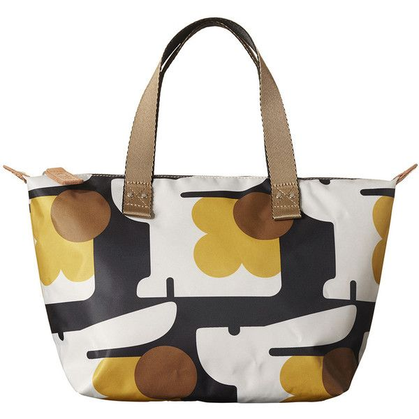 Orla Kiely Bonnie Bunny Zip Shopper - Multi ($107) ❤ liked on Polyvore featuring bags, handbags, tote bags, brown, animal print handbag, white purse, white tote bag, zip tote bag and brown purse