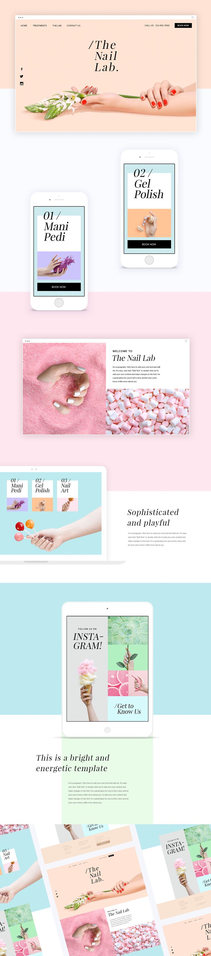 This is a bright and energetic template aimed to inspire and motivate our users. With a mixture of textures and sweet pastel colors, this template is just the right balance of sophisticated and playful. This template showcases images exclusivelyshot Wix …