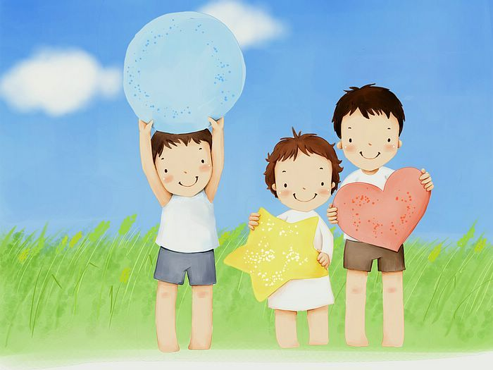 Children's Day Art Illustrations : Childhood Memories and Fun  - Children's Day Art Wallpaper : Little brothers and sisters  11