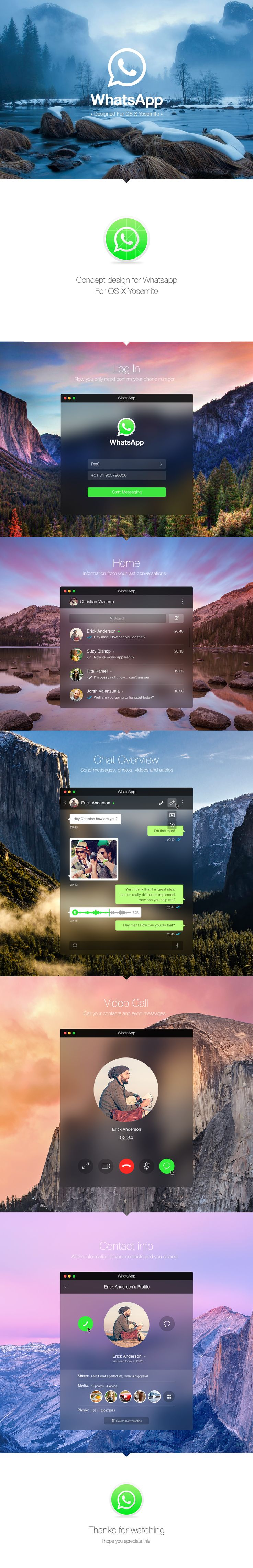 WhatsApp for OS X Yosemite - App design concept on Behance