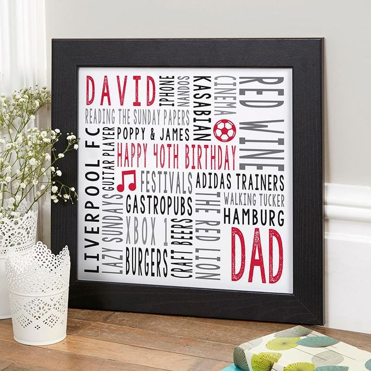personalised print 40th birthday gift idea