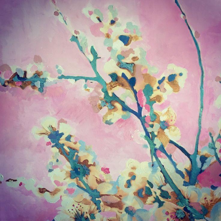 #flower #acrilyc #painting #colors #pink #art #myart 'Májová' -akryl na plátně, 1,20x80cm, detail