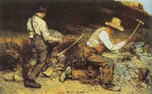 Gustave Courbet; Gli spaccapietre; 1849; olio su tela; Gemäldegallerie, Dresda (Germania).