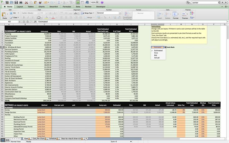 Home Building Excel Spreadsheet Home construction