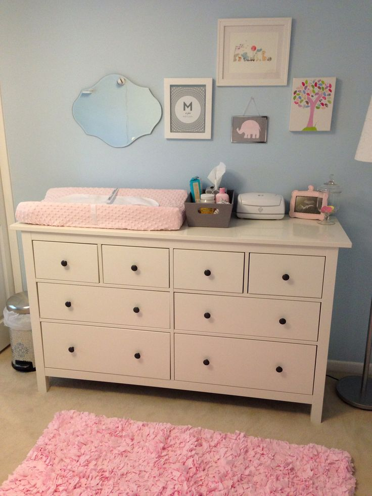 Light Blue Pink Nursery With Ikea Dresser As Changing Table