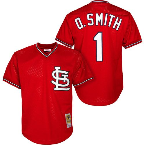 380afcd98 ... St. Louis Cardinals Ozzie Smith Authentic 1996 BP Jersey by Mitchell  Ness - MLB . ...