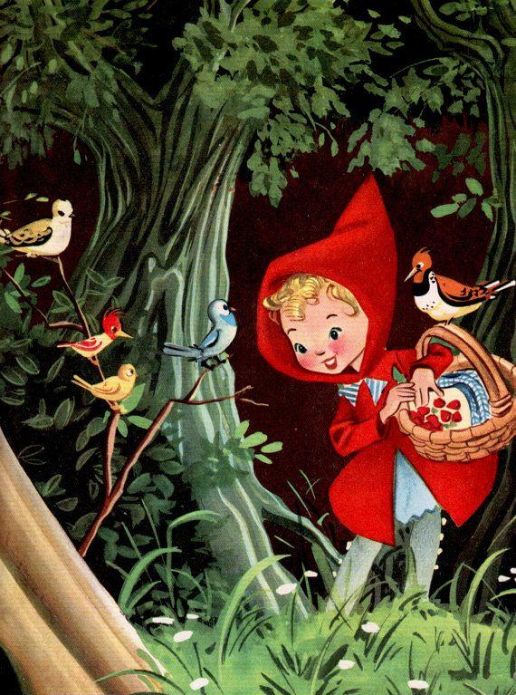 RESERVED for Hannah - vintage print Little Red RIDING HOOD nursery decor girl