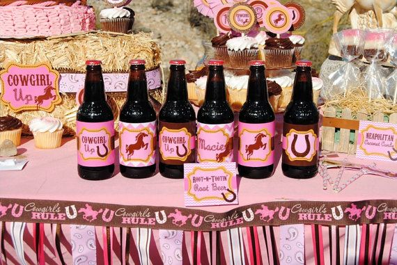 AZ COWGIRL - BOTTLE Labels - Girl Horse Birthday Party - Pink Horse Party - Western - Ranch - Cowboy - Rodeo - Baby Shower - Krown Kreations via Etsy