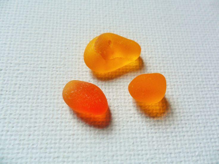 Ultra rare Perfect bright orange sea glass trio - Seaham beach area England by UKSeaGlassStore on Etsy