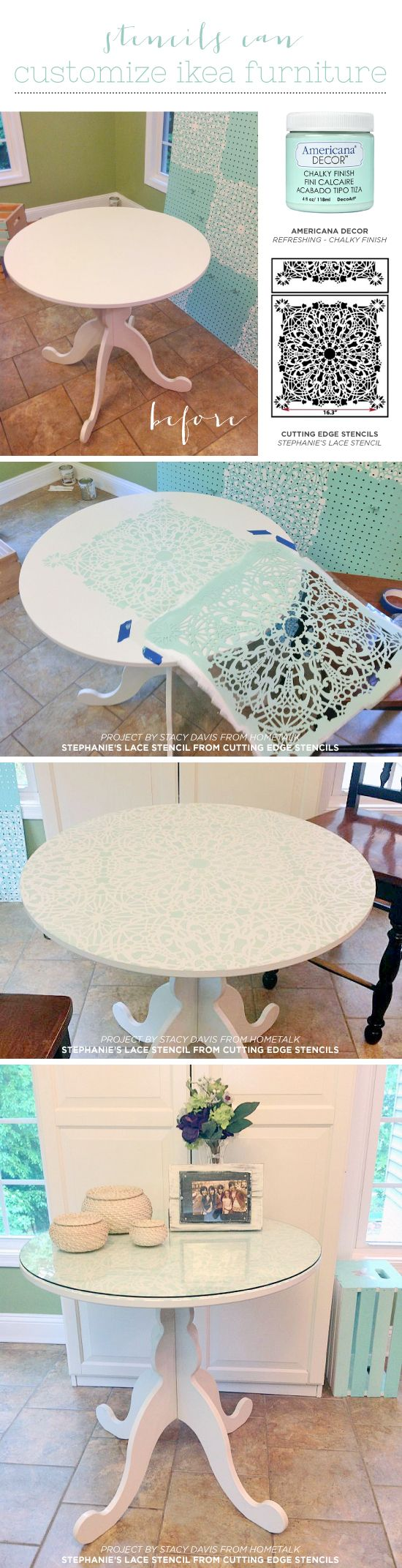 Cutting Edge Stencils shares a DIY stenciled Ikea table using the Stephanie's Lace Stencil, a lace pattern. http://www.cuttingedgestencils.com/lace-stencil-wall-decor-stencils.html