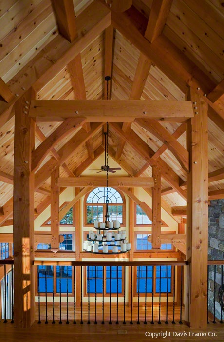 This timber frame loft overlooks the great room below.