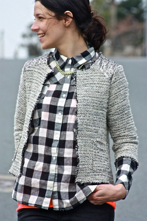 grey + gingham: Cardigans, Gingham, Chanel, Tweed Jackets, Flannels, Black And White, Outfit, Plaid Shirts, Buffalo Check