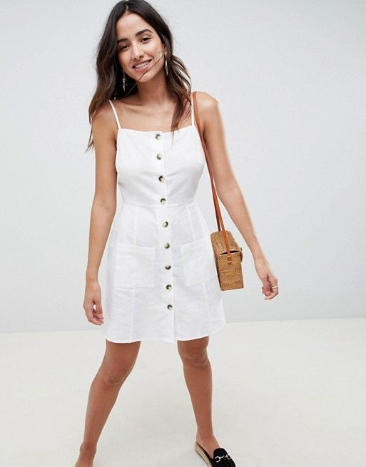 1405817890f0 DESIGN Button Through Linen Mini Sundress in 2019