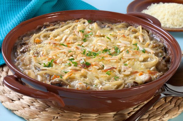 Casserole Recipe: Light Chicken Tetrazzini Noodle Casserole ...This recipe is perfect for a big family dinner or potluck, and since it still tastes great, no one even needs to know that it's not the calorie-loaded original.