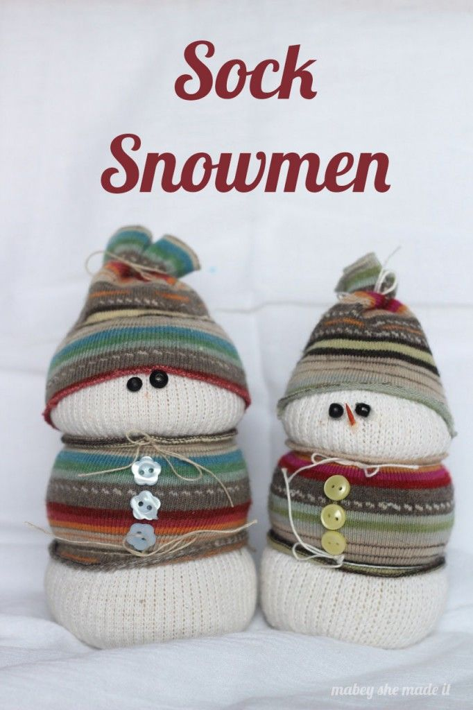 Sock Snowman. Make a great use out of your lone socks by making these darling Sock Snowmen!