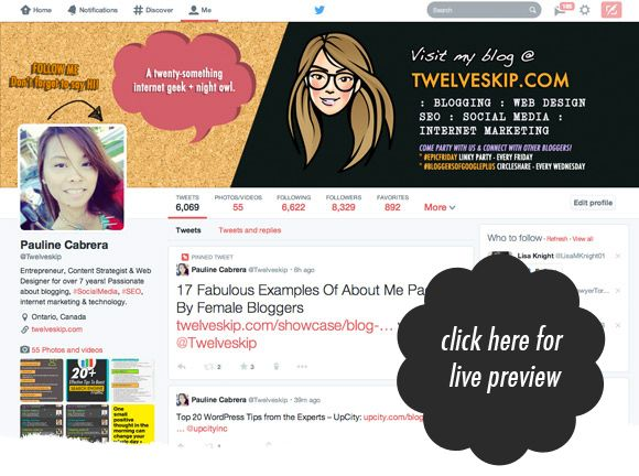 Looks like I have to do my new Twitter header soon!   Hers looks fantastic!  http://www.twelveskip.com/tutorials/twitter/1267/twitter-header-size-dimension-2014